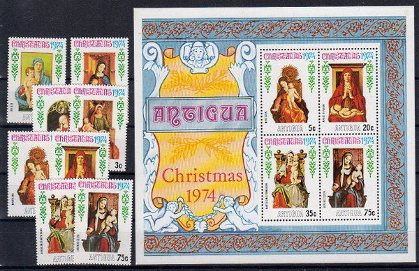 Briefmarken Antigua und Barbuda 346-53 ** + Block 17 **