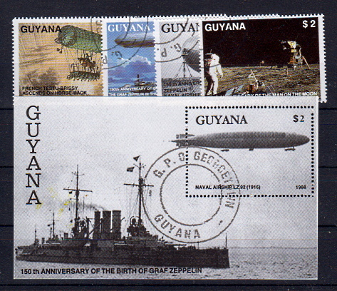 Briefmarken Guyana 2485-88 + Block 38 o